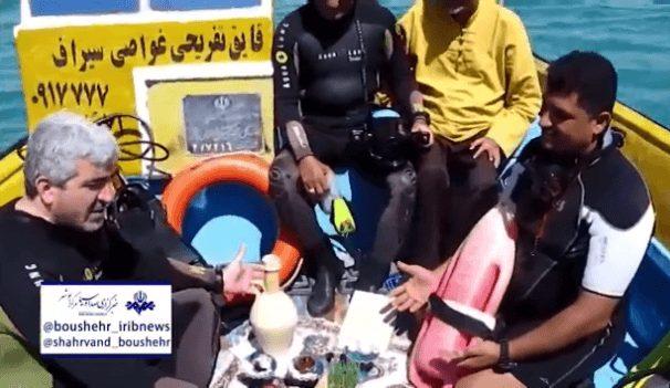 سفره هفت سینی متفاوت در اعماق خلیج فارس در بندر سیراف/فیلم