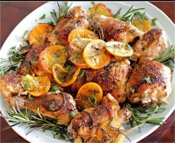 تصویر از طرز تهیه مرغ کبابی با مرکبات همراه با رزماری و پاپریکا