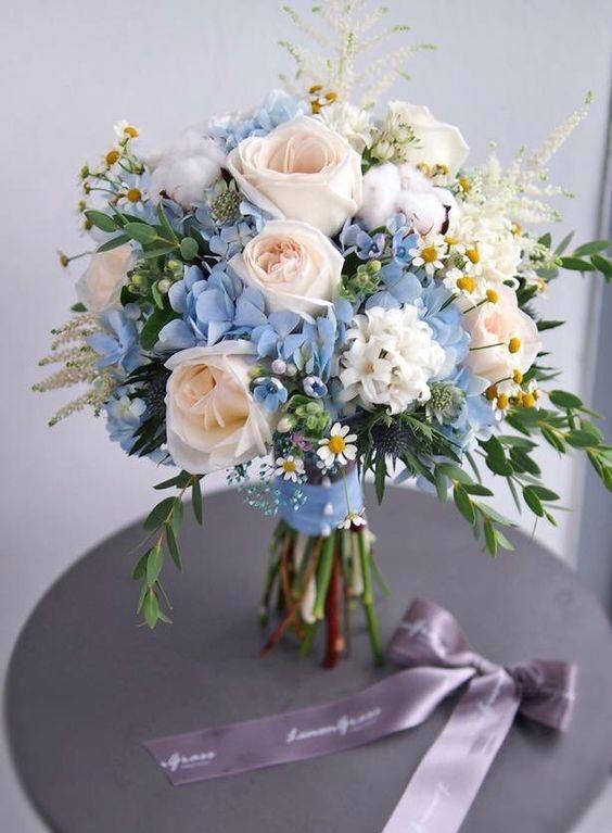 زیباترین مدلهای دسته گل عروس با هورتانسیا