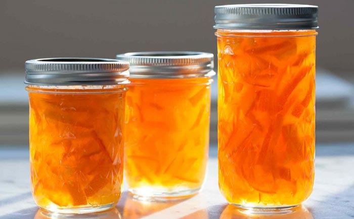 طرز تهیه مربای پوست پرتقال به دو شکل خلالی و رولی