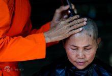 یک خادم در مراسمی مذهبی در تایلند، که زنان علاقمند به دستیابی به مقام راهبگی در آن شرکت می کنند، مشغول تراشیدن موهای یک زن داوطلب است. بر طبق قانون مصوب سال 1928 آیین بودایی، به طور رسمی فقط مردان می توانند در تایلند مراتب تبدیل شدن به راهبان بودایی را طی کنند. اما این روزها تعداد رو به افزایشی از زنان تایلندی در معابدی که به رسمیت شناخته نمی شوند و  فقط توسط زنان اداره می شود، آموزش های راهبگی دریافت می کنند.