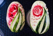 آموزش تزیین هندوانه شب یلدا به شکل گل به ۲ روش