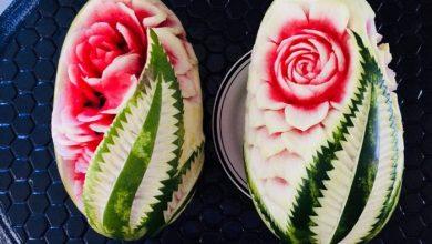 تصویر از آموزش تزیین هندوانه شب یلدا به شکل گل به ۲ روش